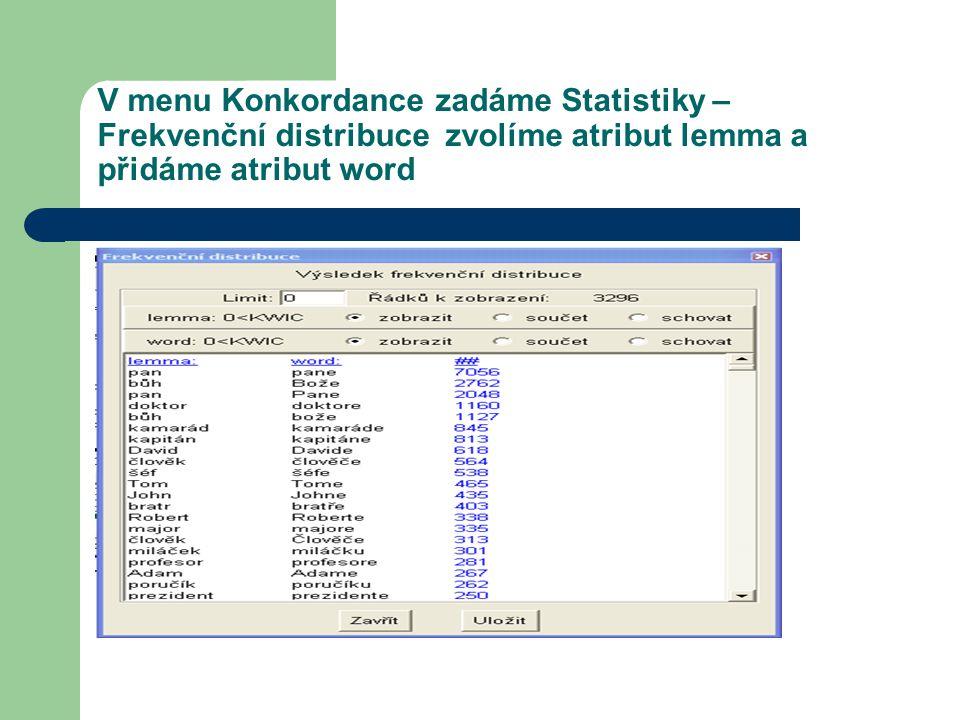 V menu Konkordance zadáme Statistiky – Frekvenční distribuce zvolíme atribut lemma a přidáme atribut word