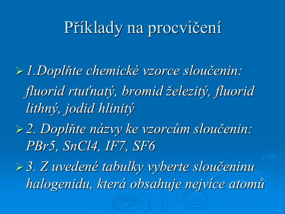 Příklady na procvičení  1.Doplňte chemické vzorce sloučenin: fluorid rtuťnatý, bromid železitý, fluorid lithný, jodid hlinitý  2.
