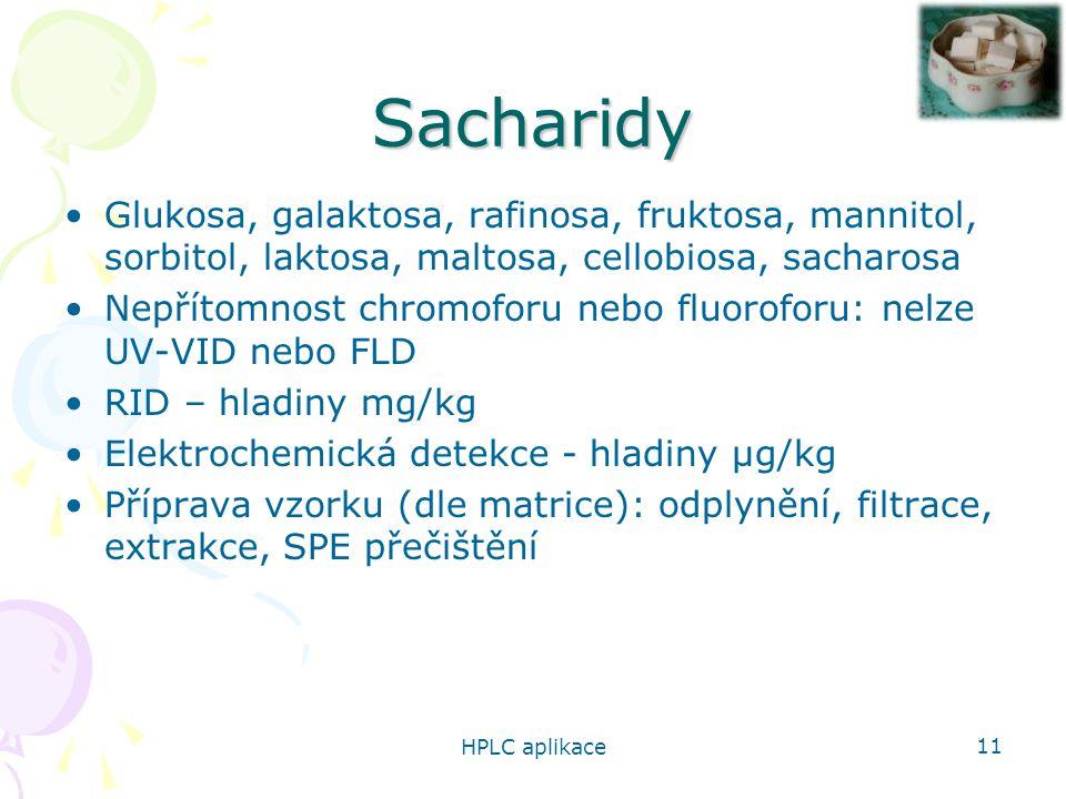 HPLC aplikace 11 Sacharidy Glukosa, galaktosa, rafinosa, fruktosa, mannitol, sorbitol, laktosa, maltosa, cellobiosa, sacharosa Nepřítomnost chromoforu nebo fluoroforu: nelze UV-VID nebo FLD RID – hladiny mg/kg Elektrochemická detekce - hladiny µg/kg Příprava vzorku (dle matrice): odplynění, filtrace, extrakce, SPE přečištění