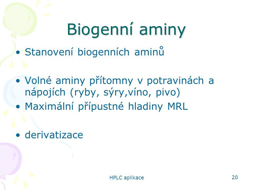 HPLC aplikace 20 Biogenní aminy Stanovení biogenních aminů Volné aminy přítomny v potravinách a nápojích (ryby, sýry,víno, pivo) Maximální přípustné hladiny MRL derivatizace