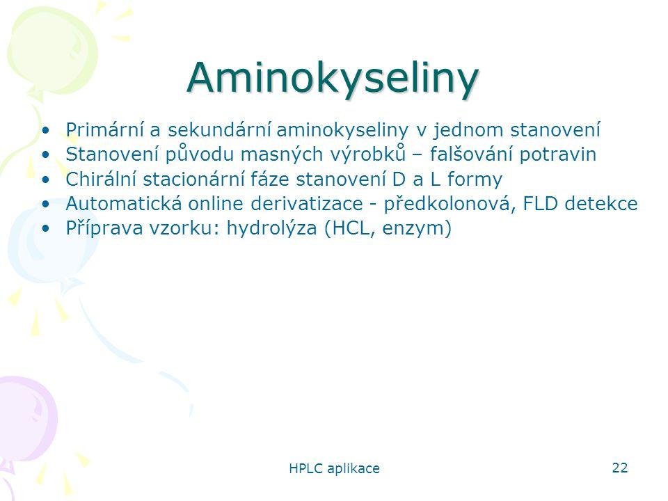 HPLC aplikace 22 Aminokyseliny Primární a sekundární aminokyseliny v jednom stanovení Stanovení původu masných výrobků – falšování potravin Chirální s