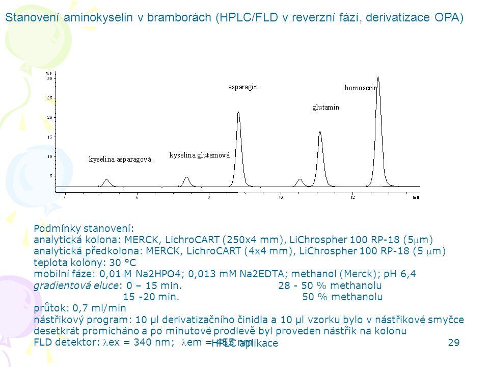 HPLC aplikace 29 Stanovení aminokyselin v bramborách (HPLC/FLD v reverzní fází, derivatizace OPA) Podmínky stanovení: analytická kolona: MERCK, Lichro