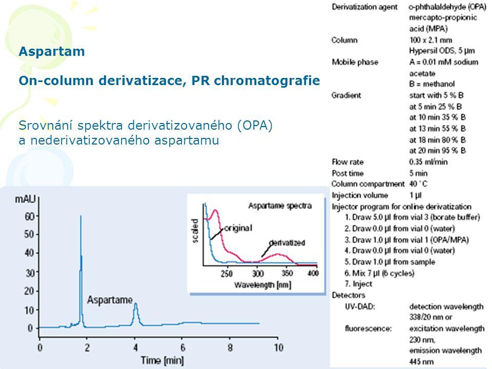 HPLC aplikace 46 Aspartam On-column derivatizace, PR chromatografie Srovnání spektra derivatizovaného (OPA) a nederivatizovaného aspartamu