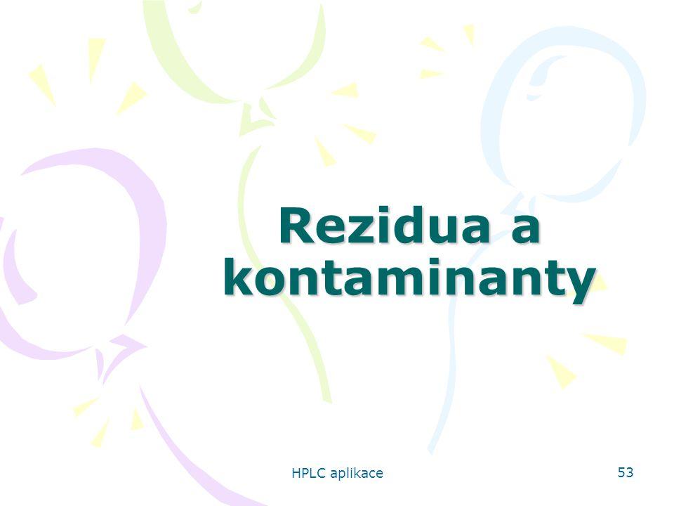 HPLC aplikace 53 Rezidua a kontaminanty