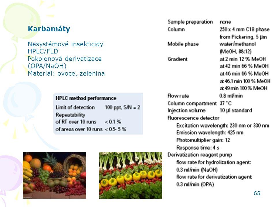 HPLC aplikace 68 Karbamáty Nesystémové insekticidy HPLC/FLD Pokolonová derivatizace (OPA/NaOH) Materiál: ovoce, zelenina