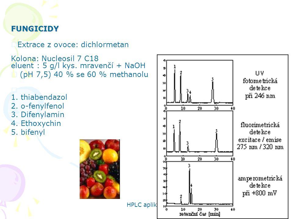 HPLC aplikace 71 FUNGICIDY  Extrace z ovoce: dichlormetan Kolona: Nucleosil 7 C18 eluent : 5 g/l kys. mravenčí + NaOH  (pH 7,5) 40 % se 60 % methano
