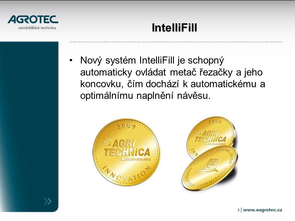 IntelliFill Nový systém IntelliFill je schopný automaticky ovládat metač řezačky a jeho koncovku, čím dochází k automatickému a optimálnímu naplnění návěsu.