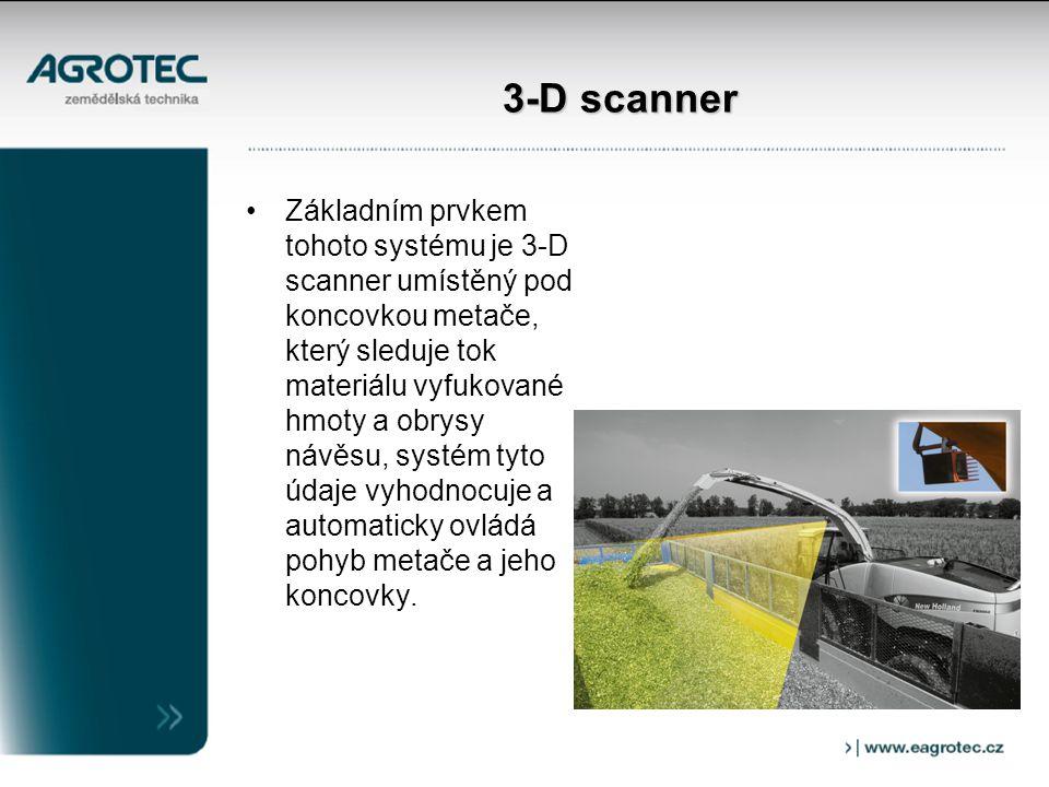 3-D scanner Základním prvkem tohoto systému je 3-D scanner umístěný pod koncovkou metače, který sleduje tok materiálu vyfukované hmoty a obrysy návěsu, systém tyto údaje vyhodnocuje a automaticky ovládá pohyb metače a jeho koncovky.