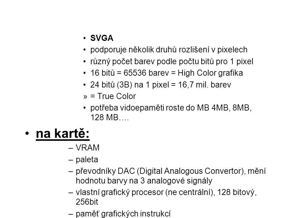 SVGA podporuje několik druhů rozlišení v pixelech různý počet barev podle počtu bitů pro 1 pixel 16 bitů = 65536 barev = High Color grafika 24 bitů (3
