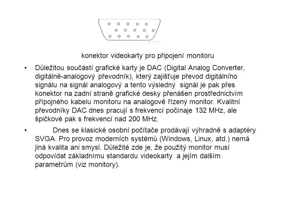 konektor videokarty pro připojení monitoru Důležitou součástí grafické karty je DAC (Digital Analog Converter, digitálně-analogový převodník), který z