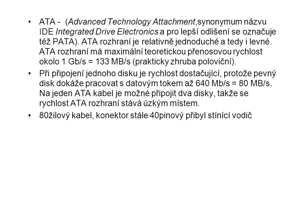 ATA - (Advanced Technology Attachment,synonymum názvu IDE Integrated Drive Electronics a pro lepší odlišení se označuje též PATA). ATA rozhraní je rel