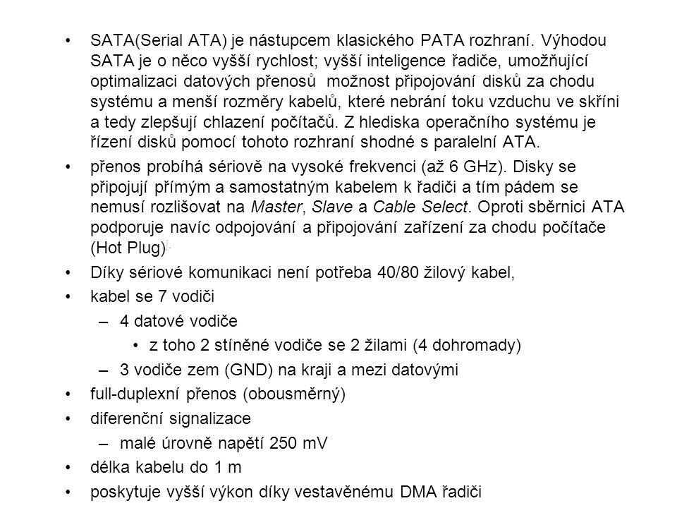 SATA(Serial ATA) je nástupcem klasického PATA rozhraní. Výhodou SATA je o něco vyšší rychlost; vyšší inteligence řadiče, umožňující optimalizaci datov