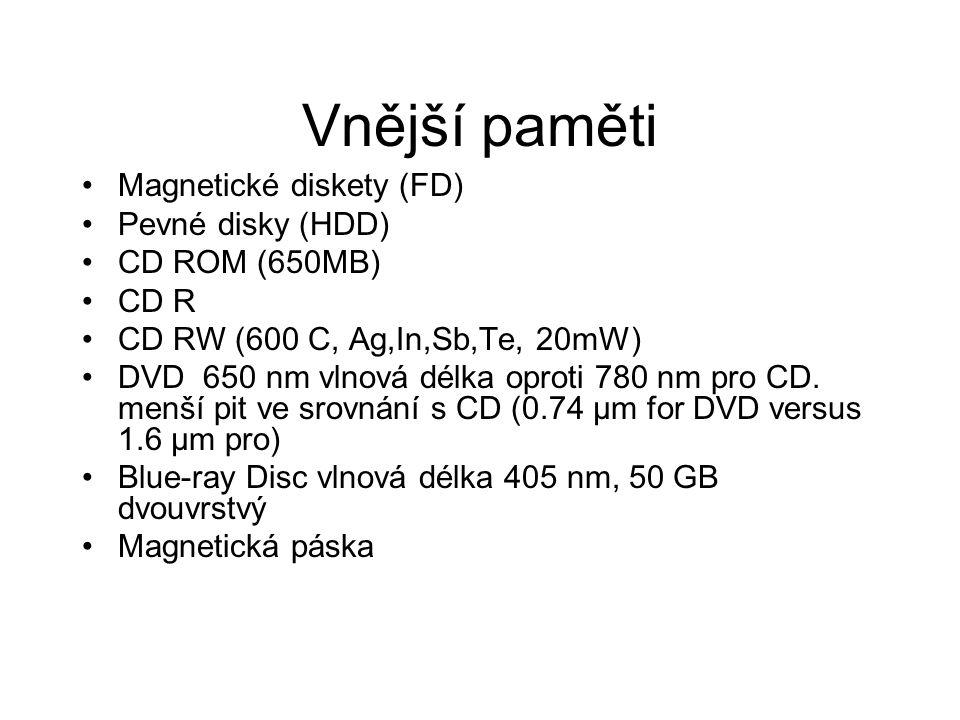 Vnější paměti Magnetické diskety (FD) Pevné disky (HDD) CD ROM (650MB) CD R CD RW (600 C, Ag,In,Sb,Te, 20mW) DVD 650 nm vlnová délka oproti 780 nm pro
