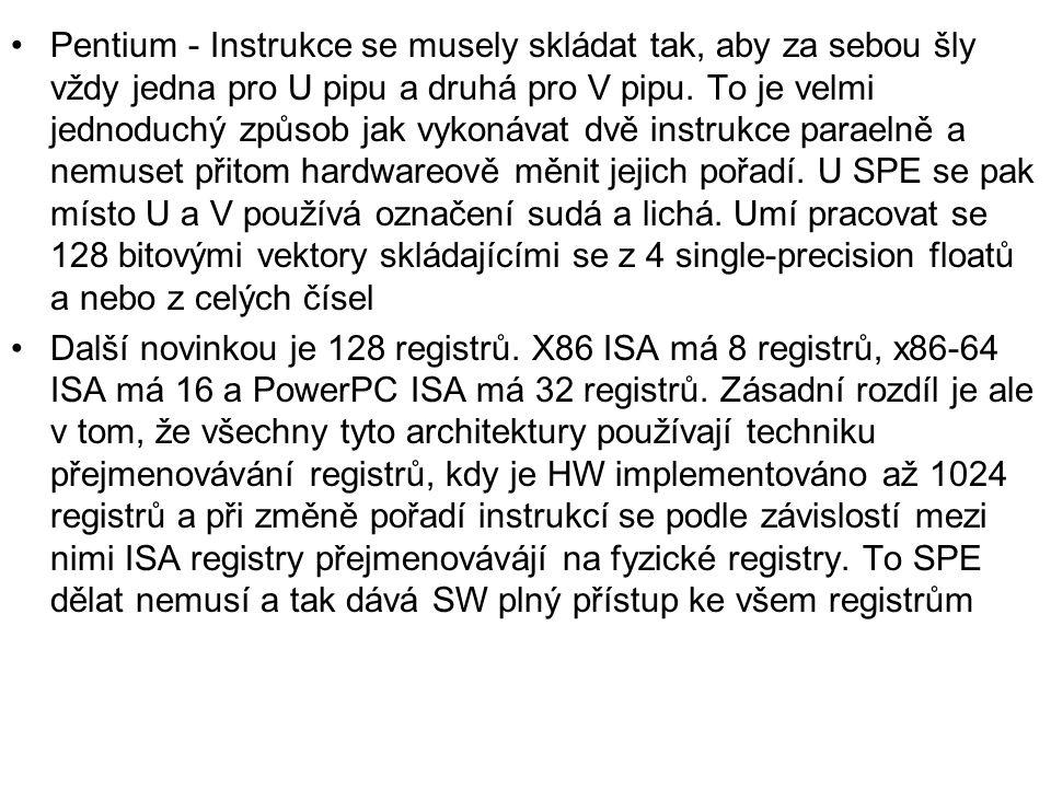 Pentium - Instrukce se musely skládat tak, aby za sebou šly vždy jedna pro U pipu a druhá pro V pipu. To je velmi jednoduchý způsob jak vykonávat dvě