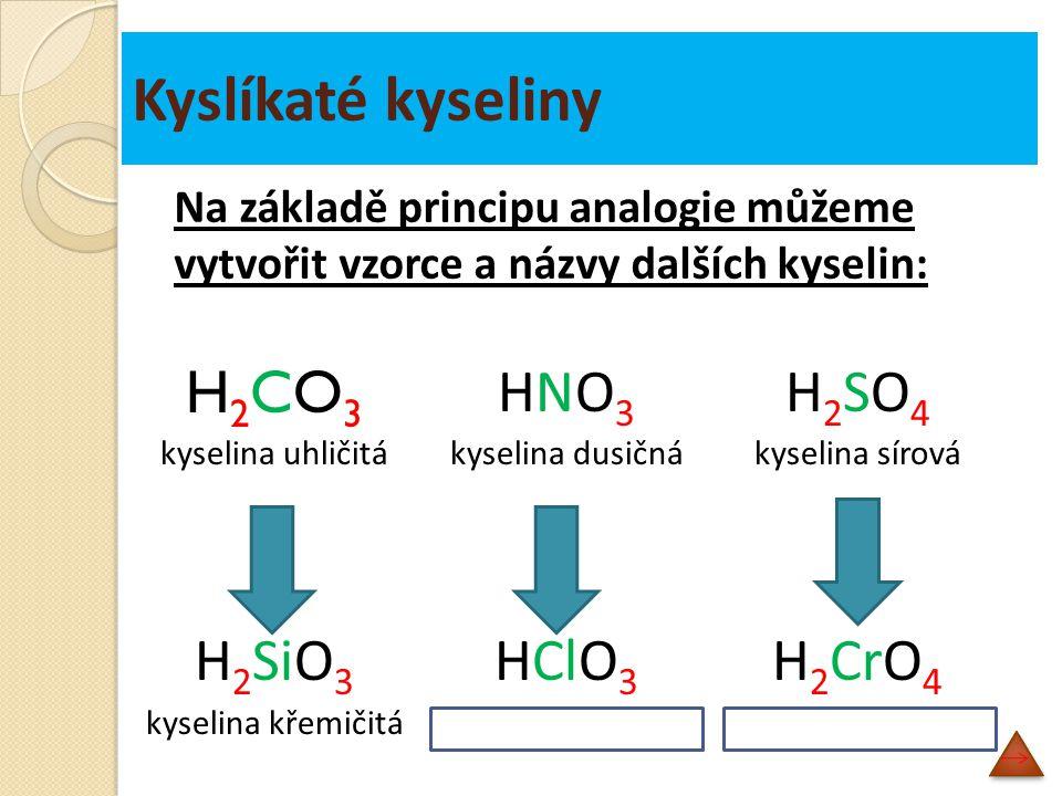 Kyslíkaté kyseliny H2CO3H2CO3 kyselina uhličitá H 2 SiO 3 kyselina křemičitá HNO3HNO3 kyselina dusičná HClO 3 kyselina chlorečná H2SO4H2SO4 kyselina sírová H 2 CrO 4 kyselina chromová Na základě principu analogie můžeme vytvořit vzorce a názvy dalších kyselin:
