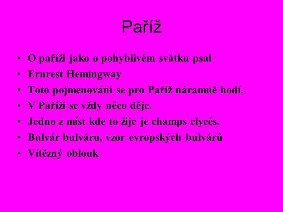 O paříži jako o pohyblivém svátku psal Ernrest Hemingway Toto pojmenování se pro Paříž náramně hodí.