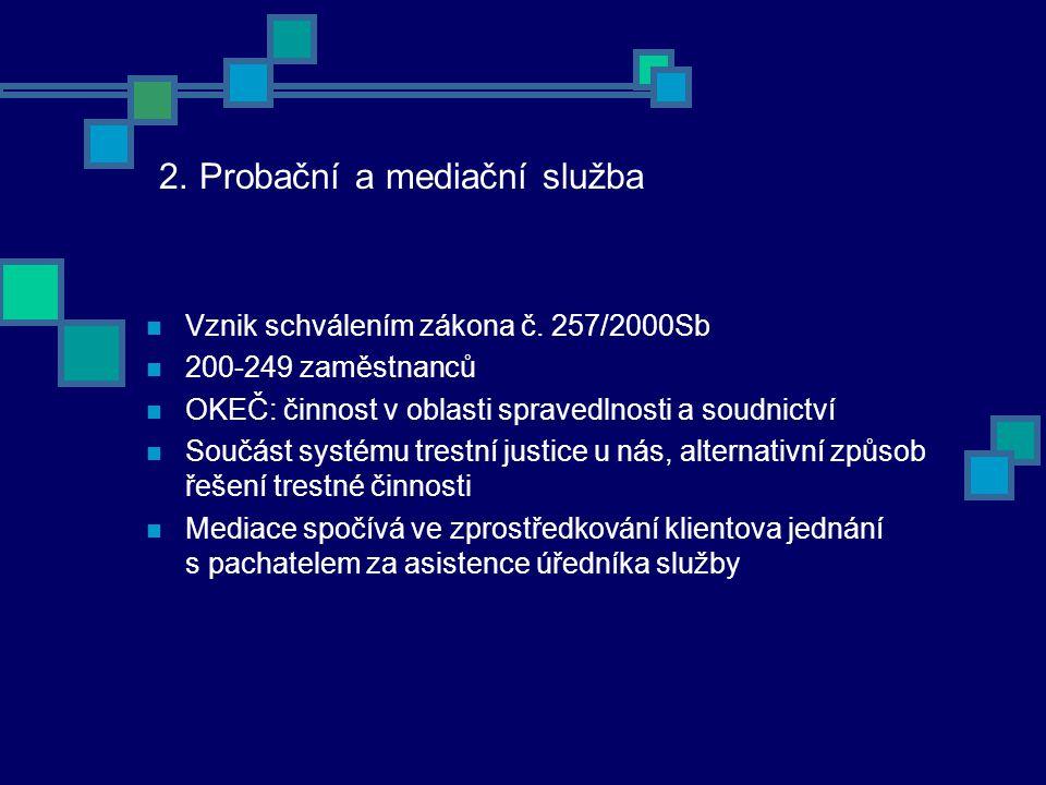 2. Probační a mediační služba Vznik schválením zákona č.