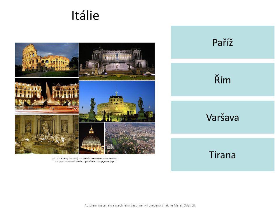 Autorem materiálu a všech jeho částí, není-li uvedeno jinak, je Marek Odstrčil. Itálie Paříž Tirana Řím Varšava [cit. 2012-02-17]. Dostupný pod licenc