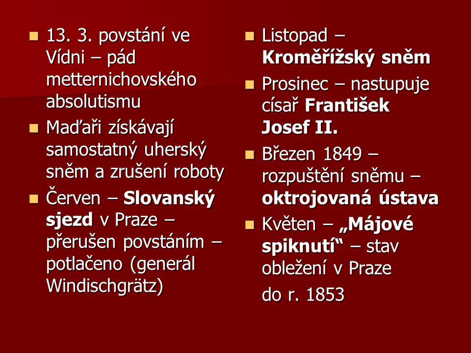 13. 3. povstání ve Vídni – pád metternichovského absolutismu 13. 3. povstání ve Vídni – pád metternichovského absolutismu Maďaři získávají samostatný