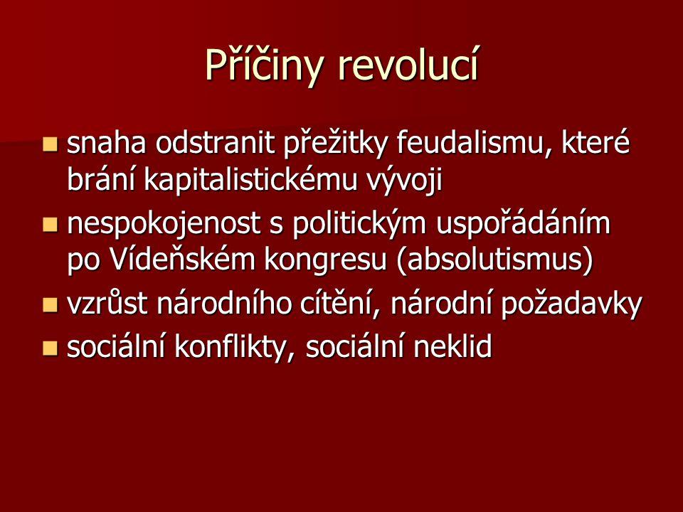 Příčiny revolucí snaha odstranit přežitky feudalismu, které brání kapitalistickému vývoji snaha odstranit přežitky feudalismu, které brání kapitalisti