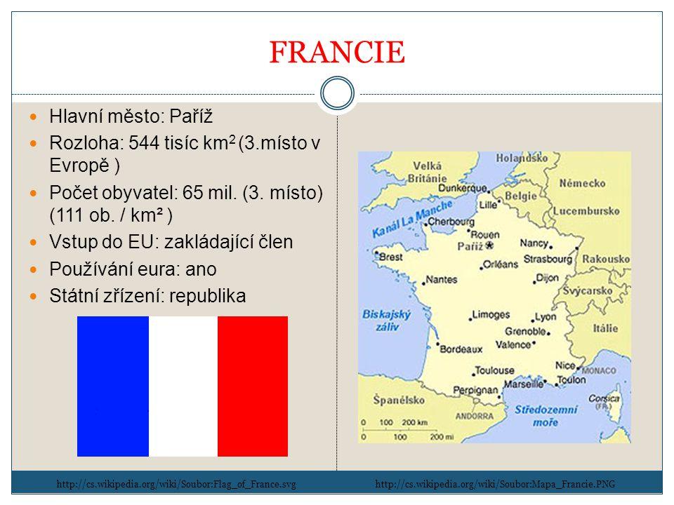 FRANCIE Hlavní město: Paříž Rozloha: 544 tisíc km 2 (3.místo v Evropě ) Počet obyvatel: 65 mil.
