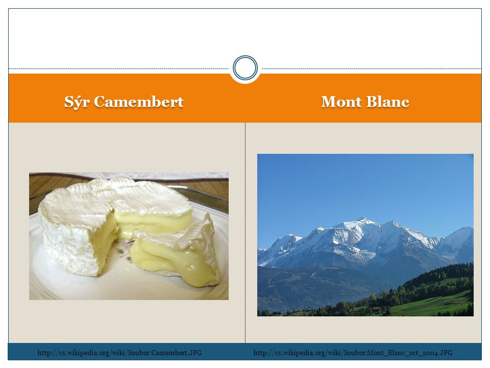Sýr Camembert Mont Blanc http://cs.wikipedia.org/wiki/Soubor:Camembert.JPGhttp://cs.wikipedia.org/wiki/Soubor:Mont_Blanc_oct_2004.JPG