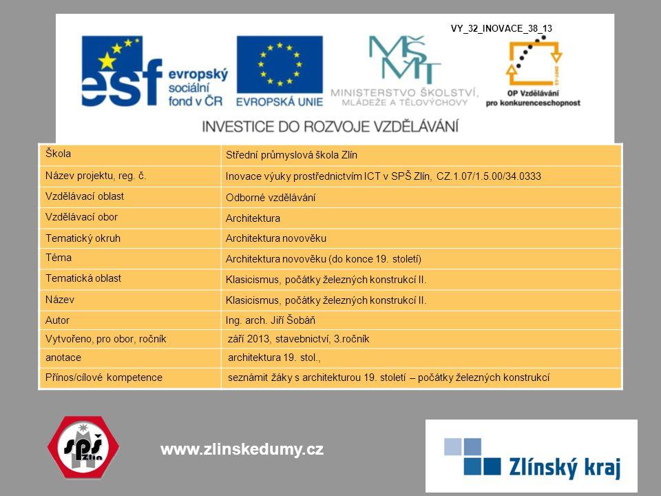 www.zlinskedumy.cz Škola Střední průmyslová škola Zlín Název projektu, reg. č. Inovace výuky prostřednictvím ICT v SPŠ Zlín, CZ.1.07/1.5.00/34.0333 Vz