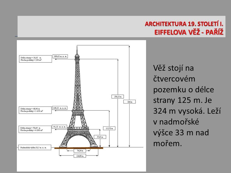 Věž stojí na čtvercovém pozemku o délce strany 125 m.