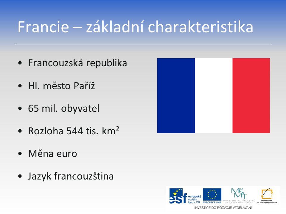 Francie – základní charakteristika Francouzská republika Hl. město Paříž 65 mil. obyvatel Rozloha 544 tis. km² Měna euro Jazyk francouzština