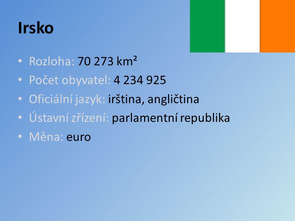 Irsko Rozloha: 70 273 km² Počet obyvatel: 4 234 925 Oficiální jazyk: irština, angličtina Ústavní zřízení: parlamentní republika Měna: euro
