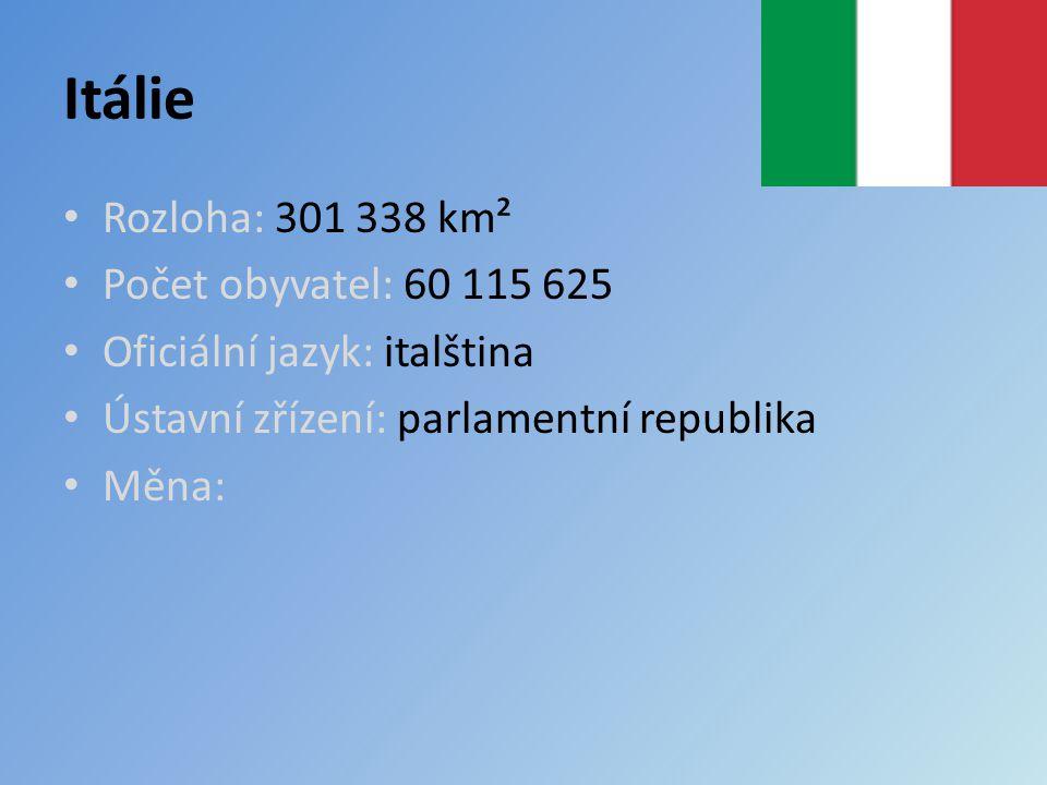 Itálie Rozloha: 301 338 km² Počet obyvatel: 60 115 625 Oficiální jazyk: italština Ústavní zřízení: parlamentní republika Měna: