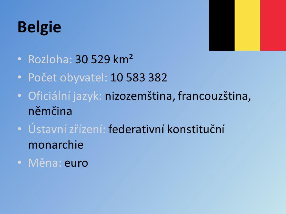 Belgie Rozloha: 30 529 km² Počet obyvatel: 10 583 382 Oficiální jazyk: nizozemština, francouzština, němčina Ústavní zřízení: federativní konstituční monarchie Měna: euro