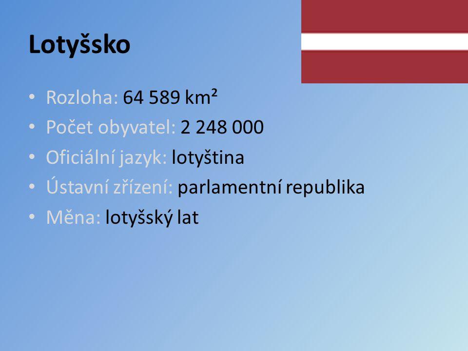 Lotyšsko Rozloha: 64 589 km² Počet obyvatel: 2 248 000 Oficiální jazyk: lotyština Ústavní zřízení: parlamentní republika Měna: lotyšský lat