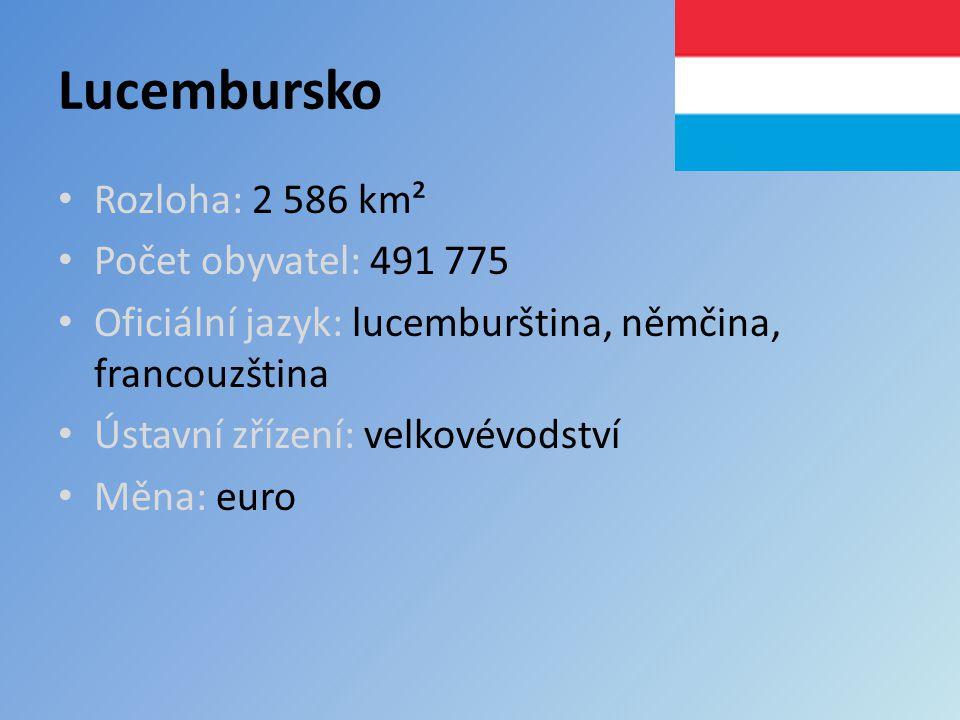 Lucembursko Rozloha: 2 586 km² Počet obyvatel: 491 775 Oficiální jazyk: lucemburština, němčina, francouzština Ústavní zřízení: velkovévodství Měna: euro