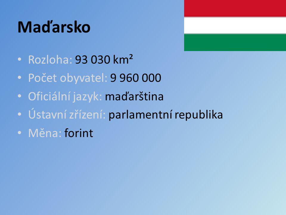 Maďarsko Rozloha: 93 030 km² Počet obyvatel: 9 960 000 Oficiální jazyk: maďarština Ústavní zřízení: parlamentní republika Měna: forint