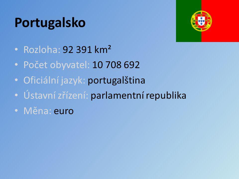 Portugalsko Rozloha: 92 391 km² Počet obyvatel: 10 708 692 Oficiální jazyk: portugalština Ústavní zřízení: parlamentní republika Měna: euro