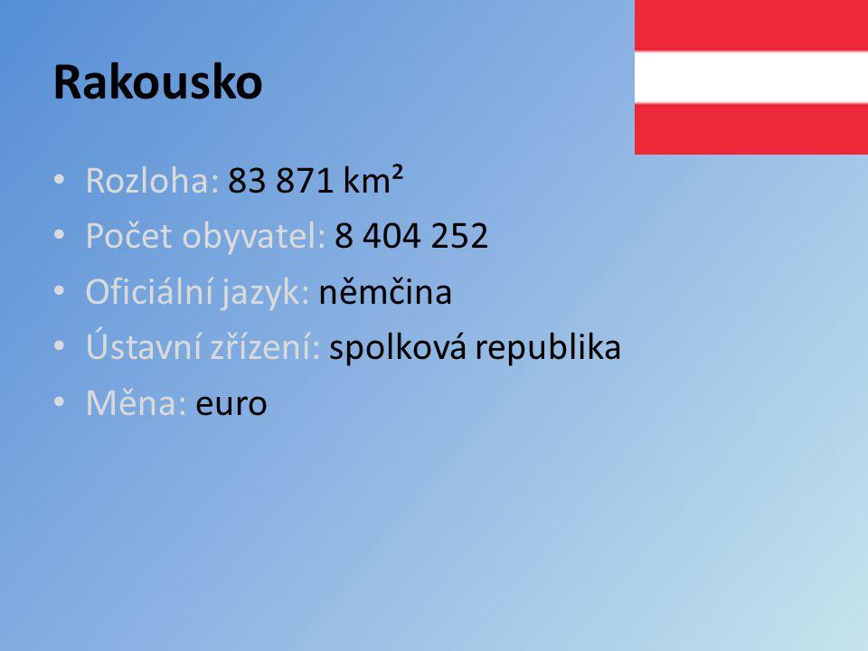 Rakousko Rozloha: 83 871 km² Počet obyvatel: 8 404 252 Oficiální jazyk: němčina Ústavní zřízení: spolková republika Měna: euro