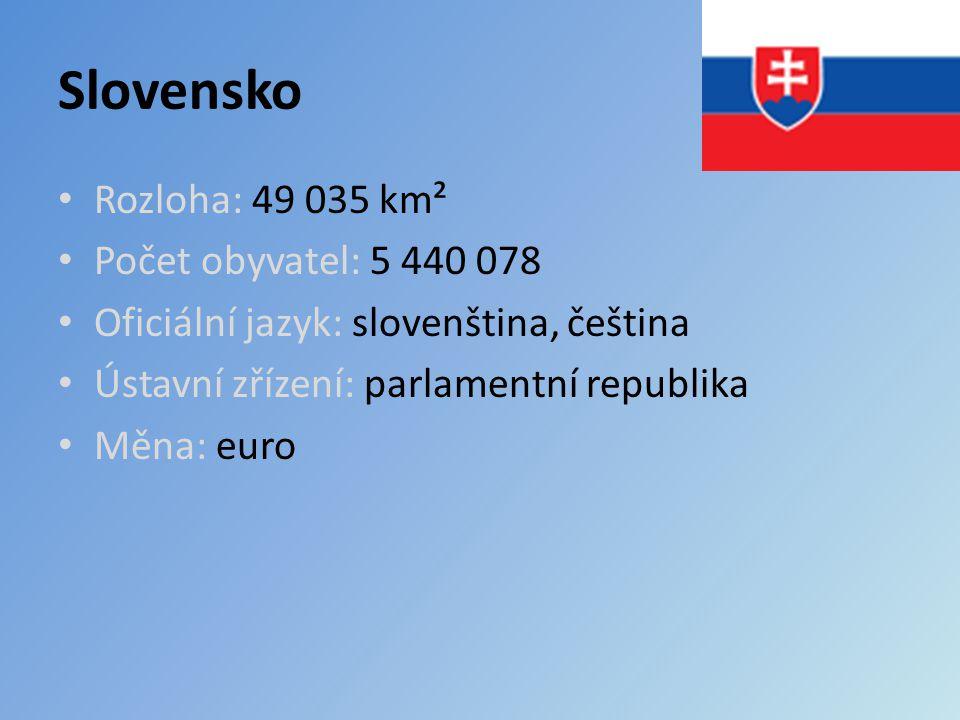 Slovensko Rozloha: 49 035 km² Počet obyvatel: 5 440 078 Oficiální jazyk: slovenština, čeština Ústavní zřízení: parlamentní republika Měna: euro