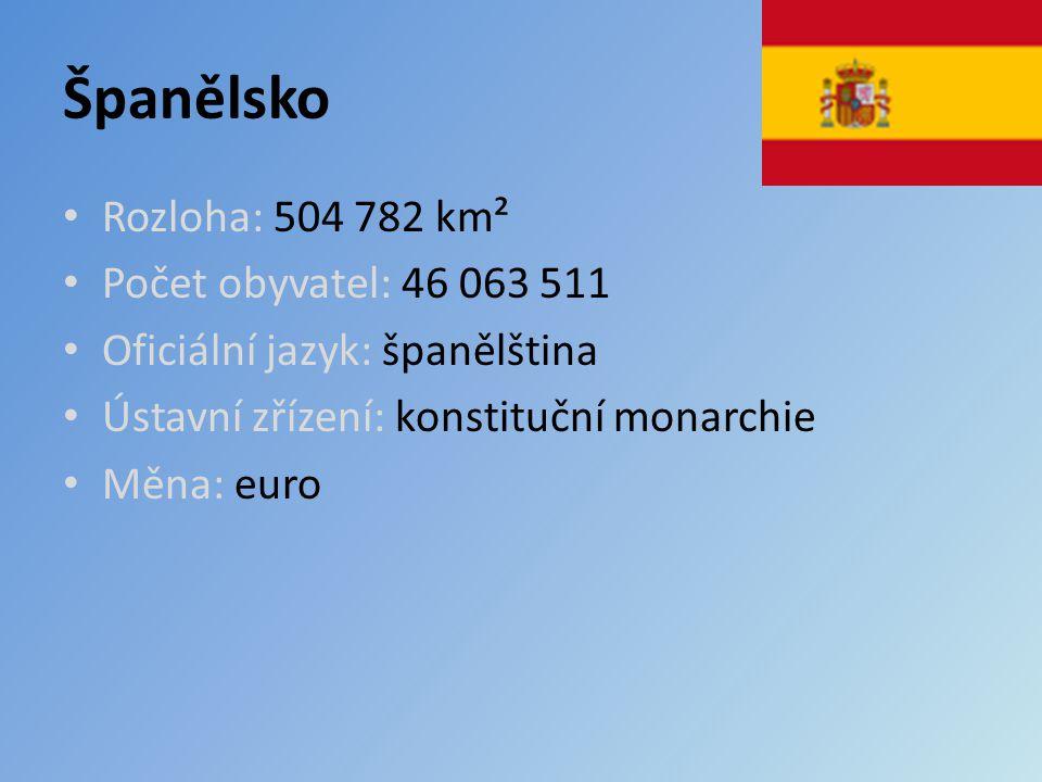 Španělsko Rozloha: 504 782 km² Počet obyvatel: 46 063 511 Oficiální jazyk: španělština Ústavní zřízení: konstituční monarchie Měna: euro