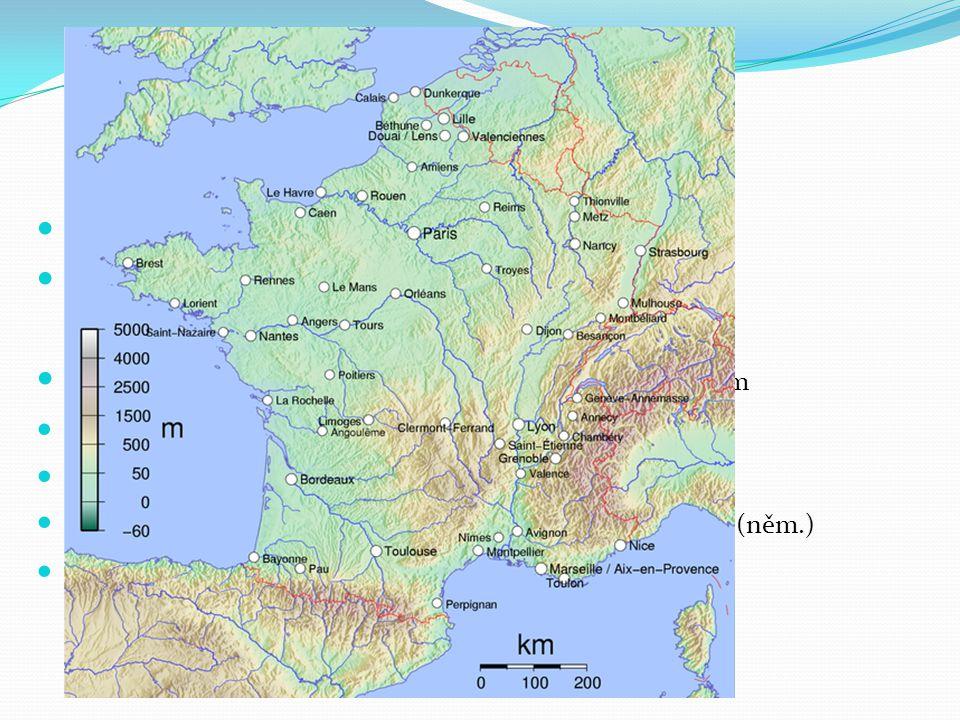 Sever 2/3 průmyslu a 1/3 zemědělství Linie Mulhouse – Orleans – Le Havre Paříž – finanční, dopravní, průmyslové a kulturní centrum Le Havre – Rouen –