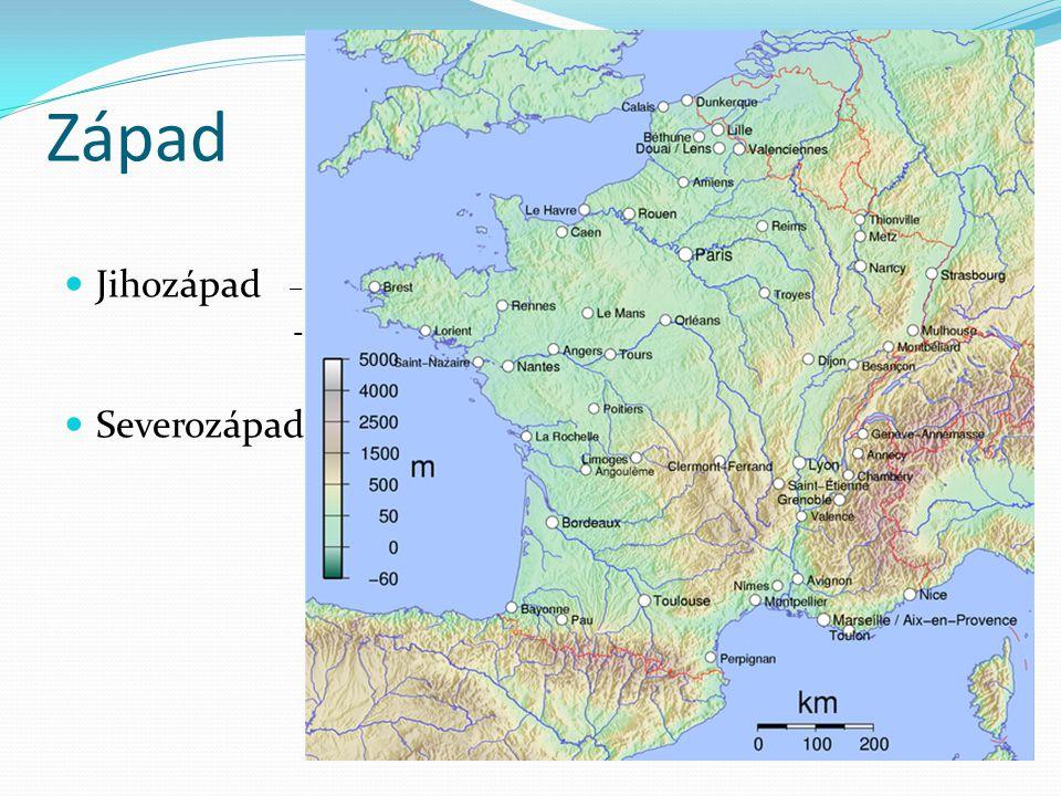 Západ Jihozápad – hlavně zemědělství – víno, tabák, kukuřice - centra Bordeaux a Toulouse Severozápad – zemědělský region – chov skotu - Normandie a B