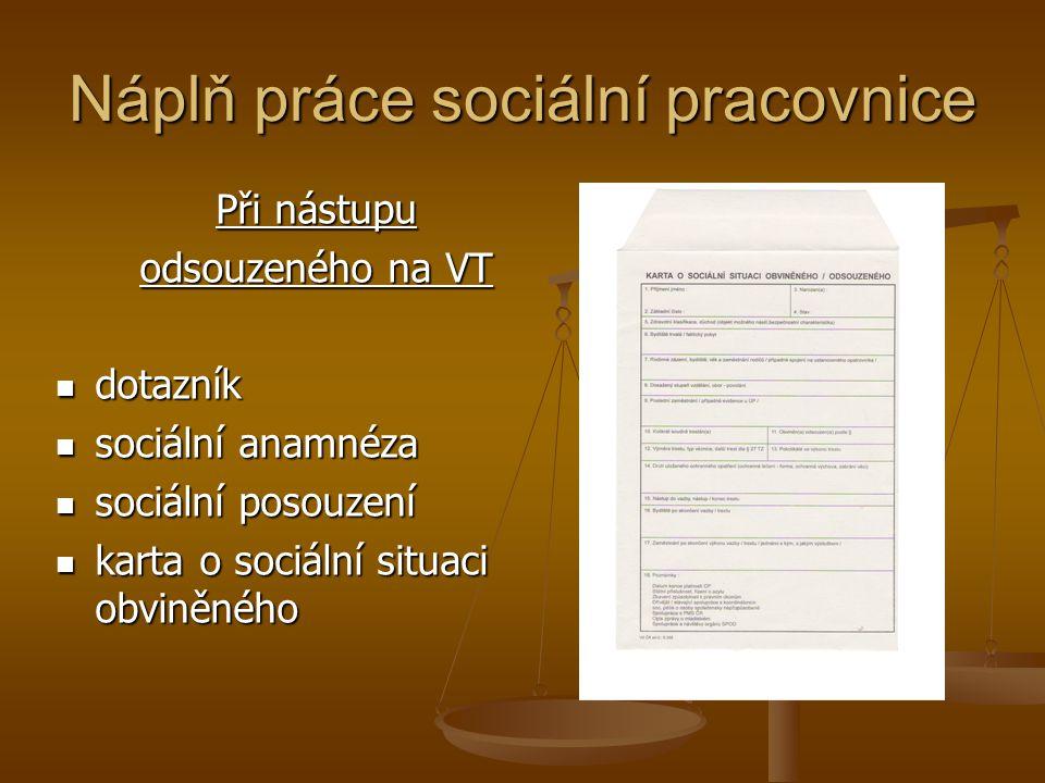 Náplň práce sociální pracovnice Při nástupu odsouzeného na VT dotazník dotazník sociální anamnéza sociální anamnéza sociální posouzení sociální posouz