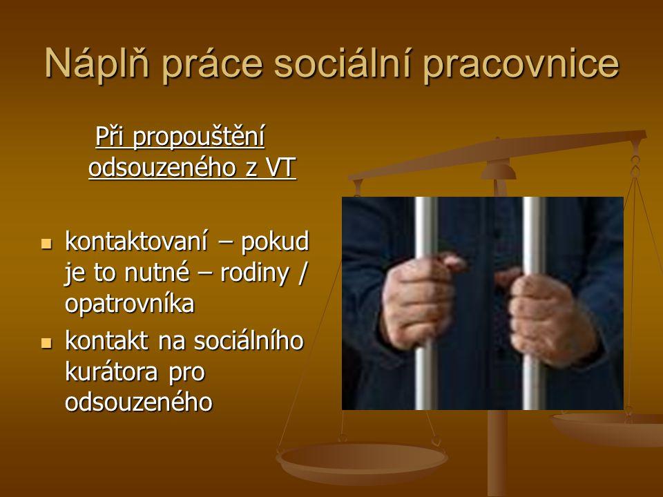 Náplň práce sociální pracovnice Při propouštění odsouzeného z VT kontaktovaní – pokud je to nutné – rodiny / opatrovníka kontaktovaní – pokud je to nu