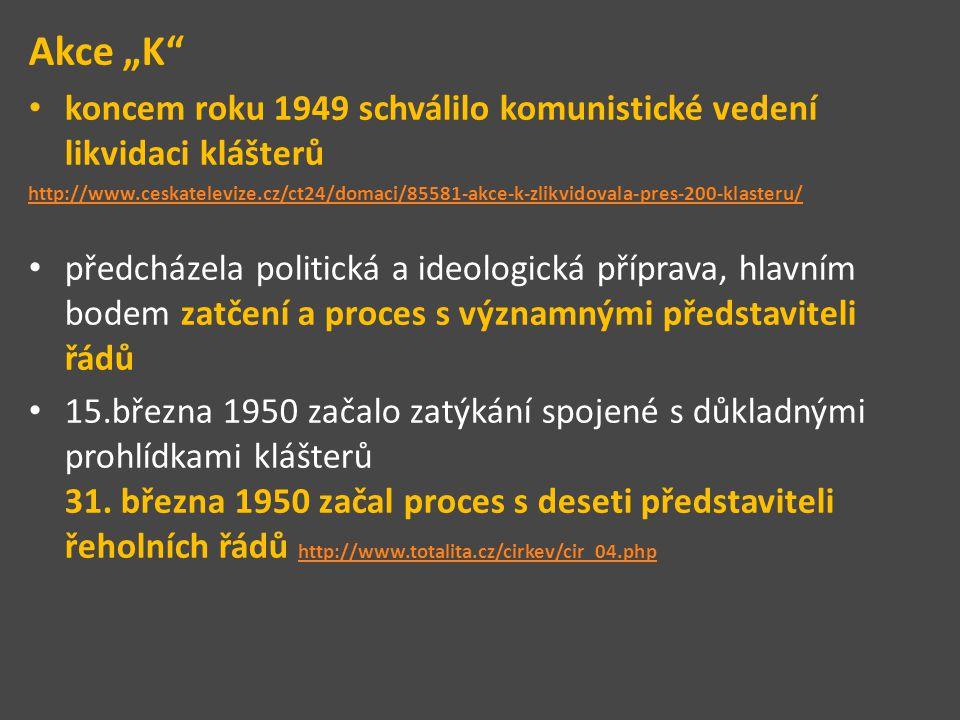 """Akce """"K"""" koncem roku 1949 schválilo komunistické vedení likvidaci klášterů http://www.ceskatelevize.cz/ct24/domaci/85581-akce-k-zlikvidovala-pres-200-"""