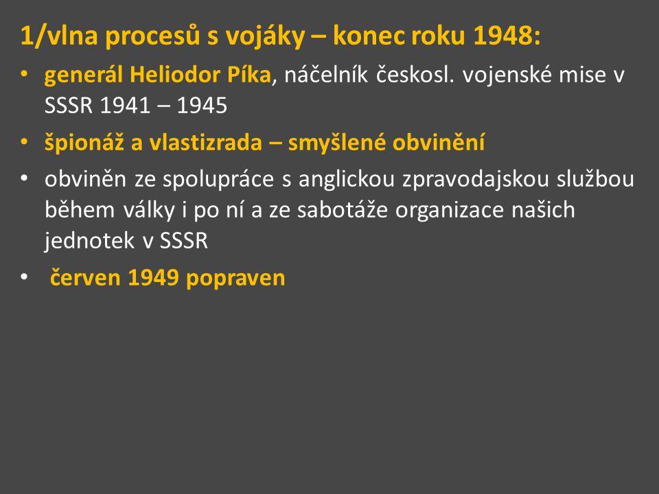 1/vlna procesů s vojáky – konec roku 1948: generál Heliodor Píka, náčelník českosl. vojenské mise v SSSR 1941 – 1945 špionáž a vlastizrada – smyšlené