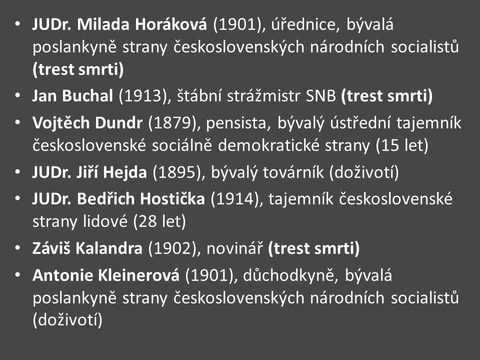 JUDr. Milada Horáková (1901), úřednice, bývalá poslankyně strany československých národních socialistů (trest smrti) Jan Buchal (1913), štábní strážmi