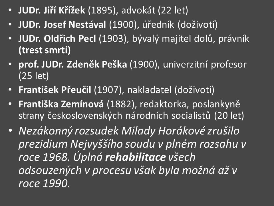 JUDr. Jiří Křížek (1895), advokát (22 let) JUDr. Josef Nestával (1900), úředník (doživotí) JUDr. Oldřich Pecl (1903), bývalý majitel dolů, právník (tr