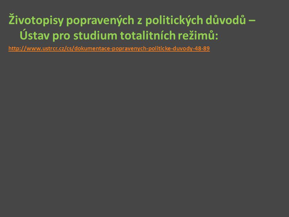 Životopisy popravených z politických důvodů – Ústav pro studium totalitních režimů: http://www.ustrcr.cz/cs/dokumentace-popravenych-politicke-duvody-4