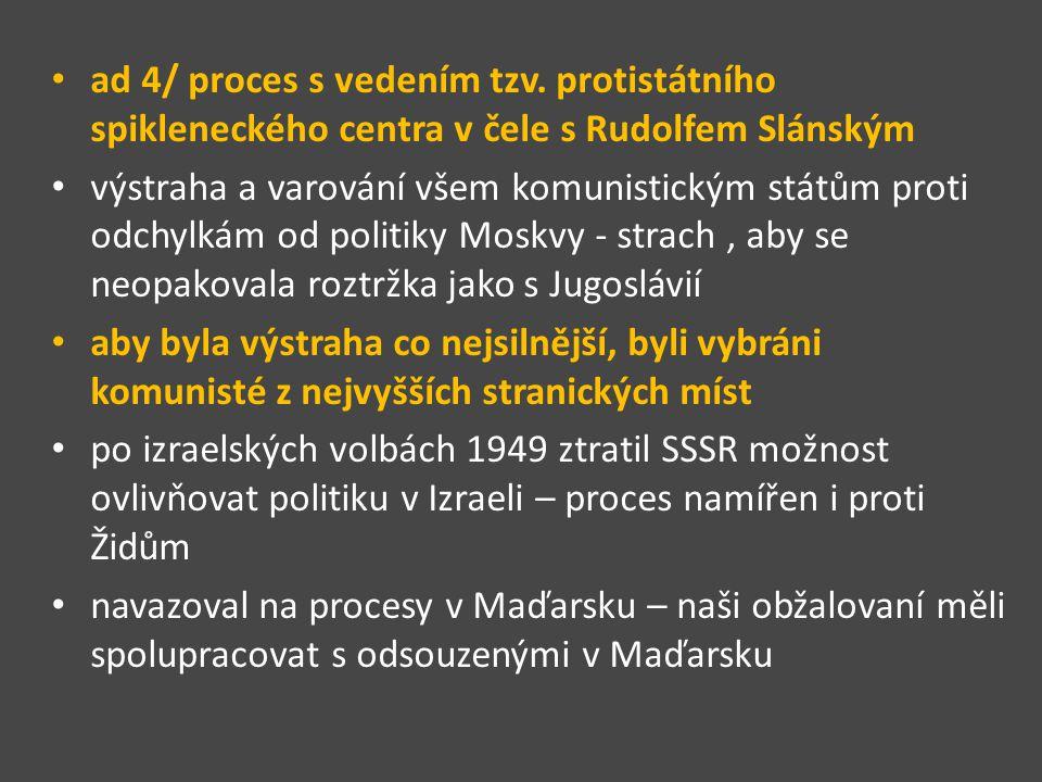 ad 4/ proces s vedením tzv. protistátního spikleneckého centra v čele s Rudolfem Slánským výstraha a varování všem komunistickým státům proti odchylká