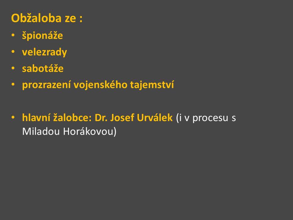 Obžaloba ze : špionáže velezrady sabotáže prozrazení vojenského tajemství hlavní žalobce: Dr. Josef Urválek (i v procesu s Miladou Horákovou)